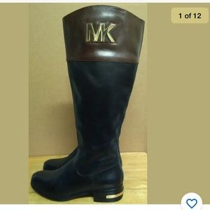Michael Kors ST14D-Womens Black- Brown Boots 6.5